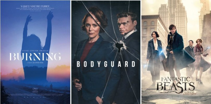 short review Burning, bodyguard, Fantastic Beasts posters