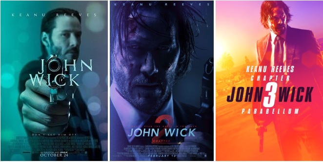 john wick trilogy posters review